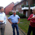 OB-Kandidat Vermeulen und Ratsherr Schmitz im Gespräch mit Vorstandsmitglied Guido Meyer-Mangold